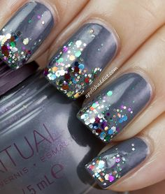 A Polish Addict , grey nails manicure big glitters shiny