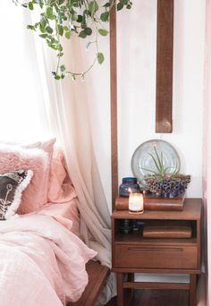 boho bedside table inspo