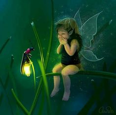Gleeful child fairy with firefly