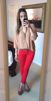 Button Down + Red Pants + Heels #Clothes #Outfits #Work #WorkAttire #Professional