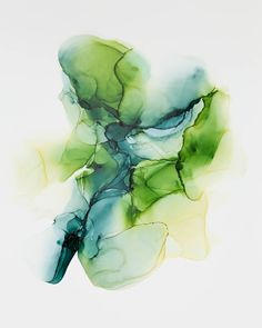 Alcohol Ink Modern Abstract in GreenAbstract Painting by KSwanArt