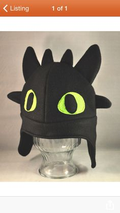 Toothless Dragon Black Fleece Hat Adult by TheCraftEGalShop, Sewing Hacks, Sewing Crafts, Sewing Projects, Fleece Projects, Fleece Hats, Fleece Scarf, Fleece Blankets, Toothless Dragon, Black Characters