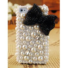 So Pretty! Gullei Trustmart : Apple iPhone4S 4G 3GS Pearl Black Bow Case Cover [GTMSP0027] - $39.00-Couple Gifts, Cool USB Drives, Stylish iPad/iPod/iPhone Cases & Home Decor Ideas