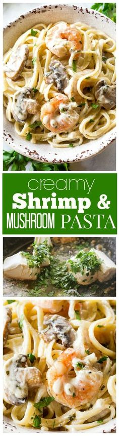 Creamy Shrimp and Mushroom Pasta - so easy and done in under 20 minutes. the-girl-who-ate-everything.com