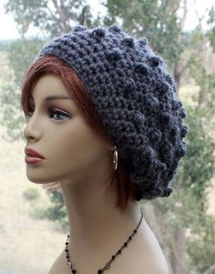 6683aa6bb2e Crochet Wool Hat Chunky Alpaca Wool womens hat slouchy beanie unique bobble  stitch hat chemo hat winter hat unique gift