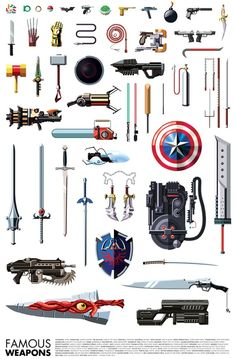 Artist Daniel Nyari (of famous robots fame) has just created this print of famous weapons from video games, comic characters, and movies. I& not really sure how Tetris blocks (tetrominoes) count as weapons, but I suppose if you beat. King's Quest, Univers Dc, By Any Means Necessary, Weapon Concept Art, Armor Concept, Famous Movies, Fantasy Weapons, Geek Out, Nerd Geek