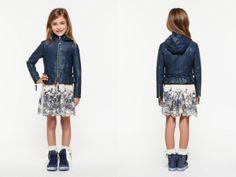 @Twinilla Kok-Set Simona Barbieri Girl Spring Summer 2014, blue leatherette jacket #blue #twinset #twinsetgirl #SS14 #spring #summer #springsummer2014 #childrens #kids #childrenswear #kidswear #kidsfashion #girls
