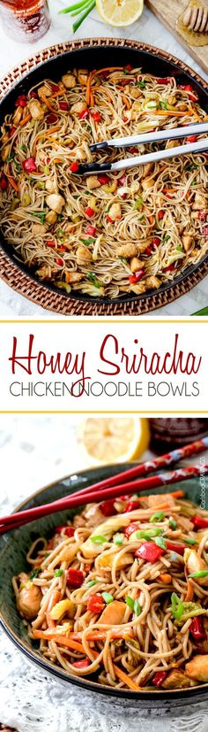 Sweet and spicy Honey Sriracha Chicken Noodle Bowls smothered in the most delectable sweet heat sauce. Quick, easy and delish!