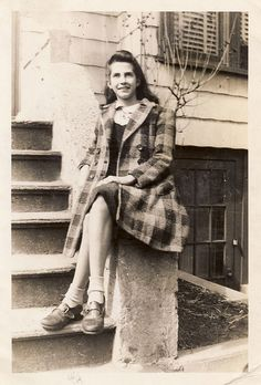 Girl on a stoop, the Bronx, 1943 by Robert Barone, via Flickr Morris park, NY (Mr Barone's Mother, Clara at age 14)