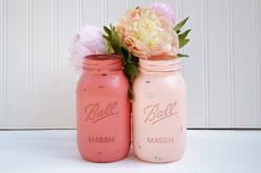 Bridal Shower Decor, Pink, Bridal Shower Centerpiece - PEONY PINK - Shabby Chic, Wedding Reception Decor, Spring, Summer: Mason Jar Vase