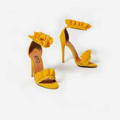 212beb8be84daa Florence Frill Detail Heel In Yellow Faux Suede Yellow Shoes