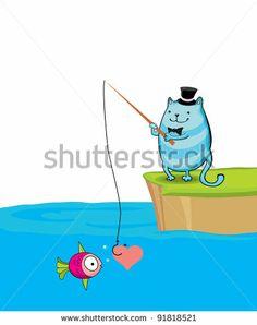 cute cartoon fishing cat by juulija_b, via Shutterstock