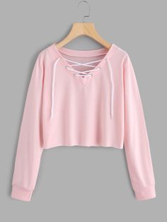 Romwe Eyelet Lace Up Sweatshirt Cute Girl Outfits, Teen Fashion Outfits, Cute Casual Outfits, Outfits For Teens, Jugend Mode Outfits, Crop Top Hoodie, Cute Crop Tops, Crop Top Outfits, Mode Streetwear