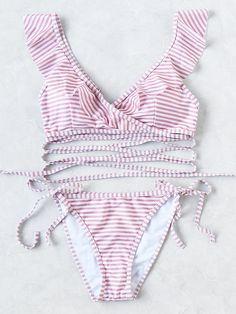 Sets de bikini fruncido escote V de rayas con tiras-Spanish SheIn(Sheinside)