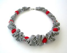 felt necklace red and gray gift under 50 single by frankideas, $40.00