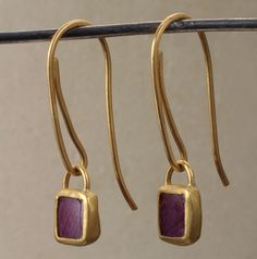 Earrings, Natural flat amethyst square shaped, wrapped in 22K gold.