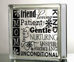 Mom Mother's Day Subway Art Glass Block by VinylDecorBoutique, $5.00