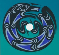 Susan Point (B. 1951, Musqueam Canadian), 1991, The Moon and the Wolf, Serigraph, Edition of 4, 12.5 × 13.5 in, Spirit Wrestler Gallery, Vancouver, Canada.