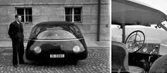 Professor Karl Schlör from AVA (an Aerodynamic Testing Institute in Göttingen) came up with a rear-mounted-engine aerodynamic shape with an unbelievable drag coefficient of 0.13 - and presented the completed working concept car in 1939 at the Berlin Auto Show Read more at http://www.darkroastedblend.com/2014/06/cars-with-propellers-part-2.html#eDoJDLxAY7BBfym8.99