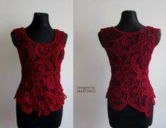 Freeform Crochet Sweater Top, Lace Blouse Top, Boho Chic Top, Irish Crochet