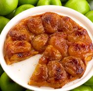 Classic Tarte Tatin. Peel and halve 5-7 Washington honey crisp apples. Place apple halves bottom down in baking pan. Top with 4 tbsp brown sugar, 4 tbsp salted butter, 1/4 tsp salt, 1/2 tsp lemon juice. Bake covered @ 350 degrees for 50 minutes. Remove apples and set aside. Pour liquid into saucepan over high heat for 5 min stirring constantly. Add 2 tsp whipped cream or heavy cream. Spray same baking dish with PAM and put pie dough in bottom. Bake @ 450 degrees for 12 min. Remove from oven…