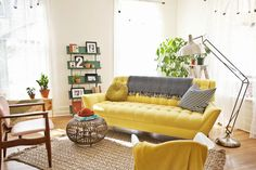 The Yellow Sofa! Yellow Sofa: A Sunshine Piece for Your Living Room! Living Pequeños, Living Room Sets, Living Room Modern, Home And Living, Living Room Designs, Living Room Decor, Tiny Living, Yellow Living Room Furniture, Colorful Furniture