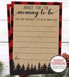 Advice for the Mommy Cards, Lumberjack Buffalo Plaid Baby Shower, Baby Shower Ideas, Advice and Well Wishes for the Mommy-to-be Shower Baby, Baby Shower Parties, All You Need Is, Office Baby Showers, Mimosa Bar Sign, Late Night Diapers, Themed Gift Baskets, Buffalo Plaid, Baby Shower Decorations