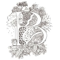 Monogram, Initial, Colour-Me-In Illuminated Letters - B, original art  drawings by melanie j cook