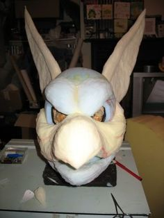 """right. just posted a head, and for once got a pretty good series of progress pics, especially of the early stages. so what follows is a """"how Fatkraken makes a fursuit, with moving jaw"""" type...thing. there are missing stages; I don't go into the eyes, or much of the detailing, since that's…"""