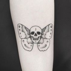 Skull Butterfly: Dotwork Stick and Poke Tattoo