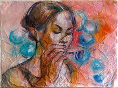 Olga Vinnitskaya. Aquarellmalerei mit Batik Effekt.