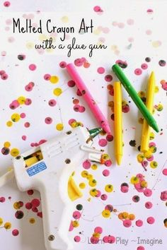Swap glue sticks for crayons to create awesome wax art. | 17 Insanely Cool Things You Can Do With A Hot Glue Gun