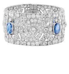 An Art Deco sapphire and diamond bracelet set in platinum. Van Cleef & Arpels