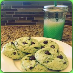 YUMMY #stpatricksday #mintchocolatechip #cookies that me and Jr. made.