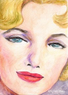 OOAK Original artwork woman painting A Marilyn Monroe inspired woman painting by JingfenHwu