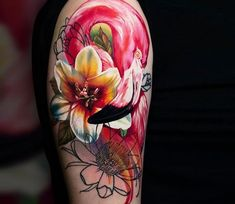 Flamingo tattoo by Sergey Hoff - Tattoo Models Flamingo Tattoo, Flamingo Art, Knot Tattoo, Arm Band Tattoo, Tattoo Ink, Large Tattoos, Cool Tattoos, Creative Tattoos, Awesome Tattoos