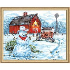 "Paint By Number Kit 20""X16""-Country Snowman"