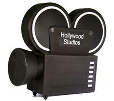 Movie camera bank.  Cute decor
