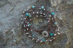 Waxed linen bracelet.