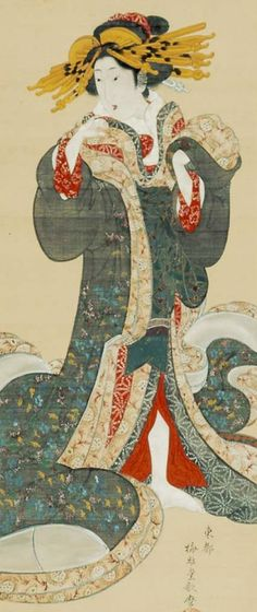 Yoshiwara courtesan. Detail of a hanging scroll; ink and color on silk, 1804-18 , Japan, by artist Kitagawa Utamara II. MFA (William Sturgis Bigelow Collection)