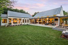modern farmhouse - backyard with side porches