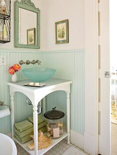 Adorable country bathroom, vessel sink on table Love the whole style