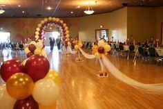 Balloon arch wedding aisle