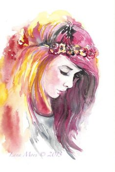 Original Watercolor Painting Artwork Woman Fashion illustration home wall decor wall art contemporary modern love fine art portrait