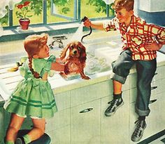 Dogwash - detail from 1948 American Standard ad.