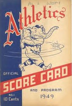 1949 Athletics Score Card and Program #Baseball #BaseballArt #Vintage