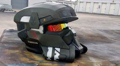 Halo EOD Helmet Replica by JohnsonArmsProps on DeviantArt Halo Cosplay, Cosplay Armor, Cosplay Helmet, Casco Halo, Taktischer Helm, Halo Armor, Bmw Scrambler, Airsoft Mask, Sci Fi Armor