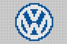 Volkswagen Logo Pixel Art Pixel Art Minecraft, Minecraft Crochet, Hama Beads Design, Diy Perler Beads, Pixel Art Marque, Pixel Art Logo, Lego Font, Logo D'art, Image Pixel Art