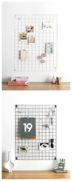 Wire Mesh Memo Board by BLOCK DESIGN, £60. Available in three on-trend colours, the memo-board is a thoughtful gift which includes 6 fold-back clips and 3 'S' hooks to help you style your next mood board. Fittings are supplied with all of our wall-wear. Available in White, Grey and Blue. (Powder coated steel. 610mm x 813mm)