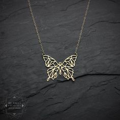Butterfly necklace, geometric butterfly pendant, origami buttrfly necklace, insect jewelry, animal necklace, gift for her, gold necklace.